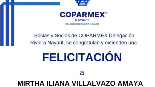 Felicitación Coparmex a Mirtha Villalvazo