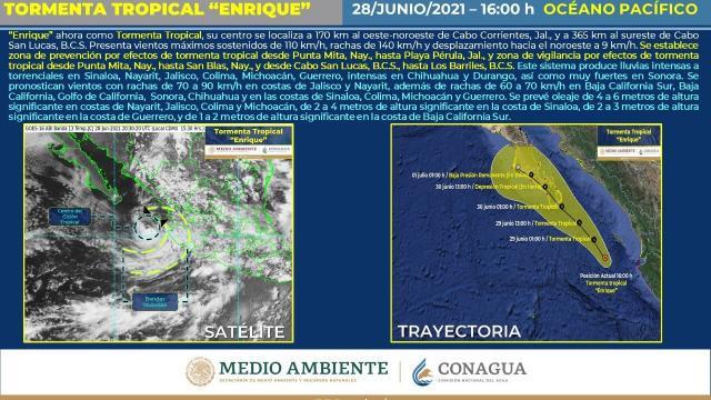 """""""Enrique"""" se debilita a Tormenta Tropical"""