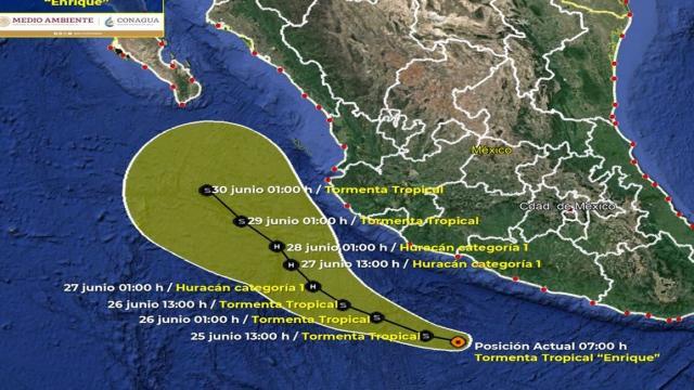 """Se forma tormenta tropical """"Enrique"""" al sur de Zihuatanejo"""