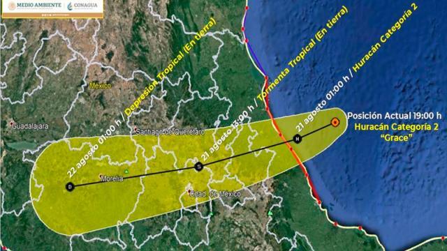 Las lluvias que ocasionará Grace la tarde de este viernes serán en el estado de Puebla y Veracruz
