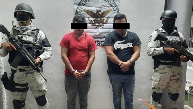 Captura Guardia Nacional a dos hombres con arma de fuego