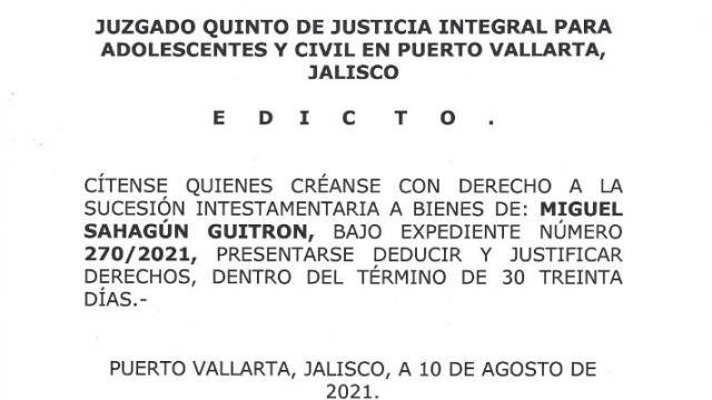 Edicto Miguel Sahagún Guitrón