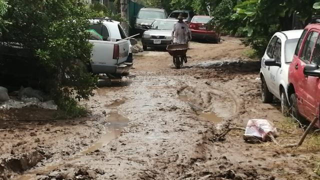 Vecinos del Pitillal limpian el lodo que dejó la creciente