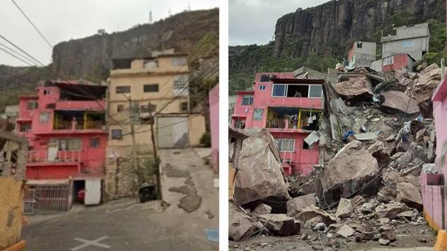 Antes y después del desgajamiento del Cerro del Chiquihuite