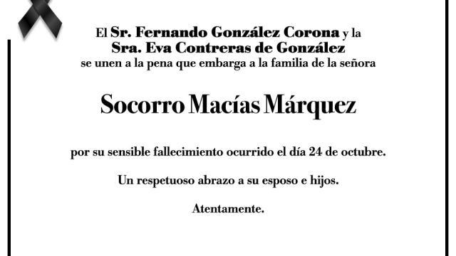 Esquela Socorro Macías Márquez