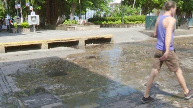 pestilentes aguas en pleno Centro de la Ciudad