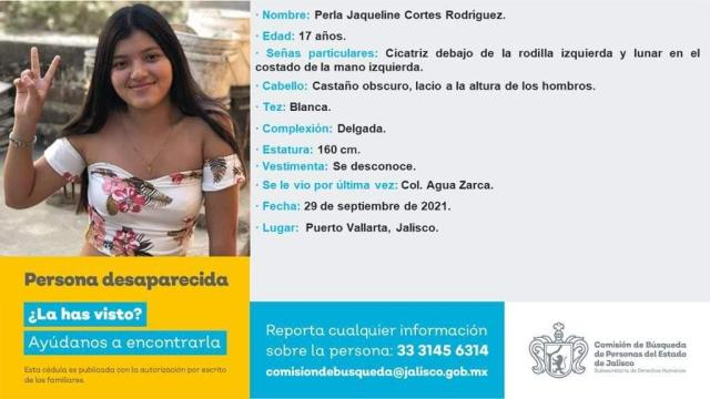 Perla Jaqueline, menor desaparecida el pasado 28 de septiembre